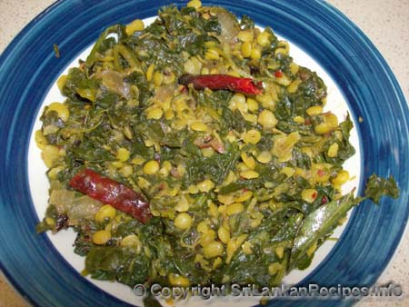 sri lankan tempered spinach with dhal (lentils) recipe